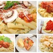 Collage of Different Pasta Dishes — Stock Photo