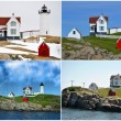 Collage of Cape Neddick Lighthouse, Maine, USA — Stock Photo