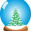 Stock Photo: Snow Globe with Snowy Pine Tree
