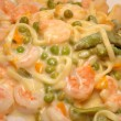Stock Photo: Creamy Shrimp with Veggies and Pasta