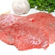 Raw Beef Cube Steaks with Fresh Garlic and Herbs — Stock Photo #39517661