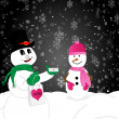 Stock Photo: Valentine-Snow Couple