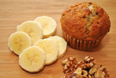 Banana Nut Muffins with Fresh Ingredients — Stock Photo