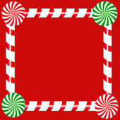 Christmas Candy Frame Over Red — Stock Photo