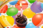 Chocolate Birthday Cupcake with a Candle — Stock Photo