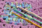 Granny Square with Crochet Hooks — Stock Photo