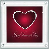 Valentine-Burgandy Hearts & Silver Frame — Stock Photo
