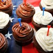 Red, White and Blue Cupcakes — Stock Photo