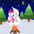 Stock Photo: Snow Couple in Front of a Warm Fire on a Cold Winters Night