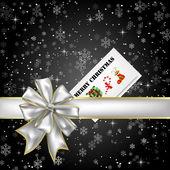 Night Snow Present with Xmas Card — Stock Photo