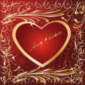 Maroon Gold Artistic Heart xmas — Stock Photo