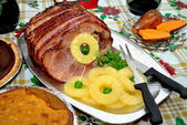 Christmas Ham Dinner with Pineapples and Side Dishes — Стоковое фото