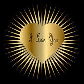Valentine-Gold Heart Burst — Stock Photo