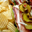 Stock Photo: Close-Up of Deli Meat Sandwich with Chips for Lunch