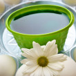 Coloring Green Easter Eggs — Stock Photo