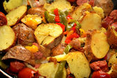 Fried Potatoes with Peppers and Sausage — Stock Photo