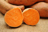 Halved Sweet Potatoes — Stock Photo