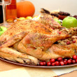 Stock Photo: Thanksgiving Turkey Stuffed with Cranberry and Apple Stuffing