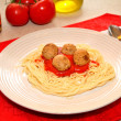 Stock Photo: Served Spaghetti and Meatballs Dinner