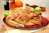 Thanksgiving Turkey Stuffed with Cranberry and Apple Stuffing — Stock Photo