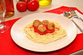 Served Spaghetti and Meatballs Dinner — Stock Photo
