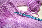 Purple Crochet with a Hook — Stock Photo