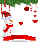Christmas Snowman with Red & Gold Ornaments — Foto de Stock