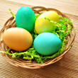 Colorful Easter Eggs in a Basket — Stock Photo
