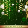 Green Happy New Year 2014 — Stock Vector