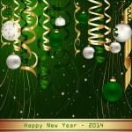 Green Happy New Year 2014 — Stock Vector