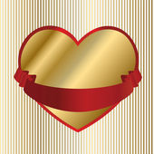 Valentine-Gold Heart with Red Ribbon — Stock Vector