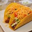 Two Beef and Cheese Tacos on White Plate — Stock Photo #41760469