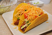 Two Beef and Cheese Tacos on a White Plate — Stock Photo