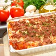 Stock Photo: Fresh Ingredients Behind Pof Lasagna