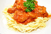 Pasta with Beef Bolognese Sauce with Parsley — Stock Photo