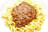Hamburger Gravy Over Ribbon Noodles — Stock Photo