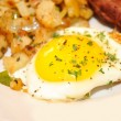 Close-Up of an Over Easy Egg Served — Stock Photo