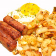 Delicious Breakfast of Potatoes, Eggs and Sausage Links — Stock Photo