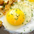 Close-Up of an Over Easy Egg Cooking — Stock Photo