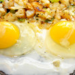 Two Over Easy Eggs Cooking in a Pan — Stock Photo #42428783