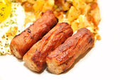 Close-Up of Three Sausage Links Served for Breakfast — Stock Photo
