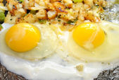 Two Over Easy Eggs Cooking in a Pan — Stock Photo