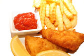 Catsup with Fresh Fish and Chips — Stock Photo