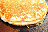Browned Pancake Cooking in a Pan — Stock Photo