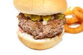 Rare Hamburger on a Bun — Stock Photo