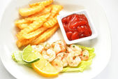 Shrimp Dinner with a Side of Catsup — Stock Photo