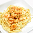 Shrimp Scampi Served on a White Plate — Stock Photo