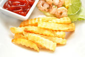 Side Dish of Fries with Catsup — Stock Photo