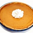 A Whole Fresh Baked Pumpkin Pie with Whipped Cream — Foto de Stock   #44454387