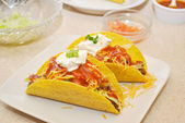 Loaded Taco Shells with Fresh Ingredients — Foto de Stock